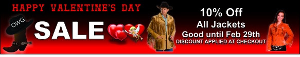 Valentines Special 10% Off All Jackets