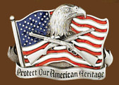"Protect Our American Heritage Belt Buckle, 3-1/4"" x 2-1/2"""