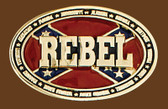 REBEL Belt Buckle, 3-3/4 x 2-1/2  GOLD