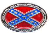 Rebel Flag oval belt buckle with States