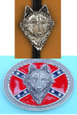 Rebel Wolf Belt Buckle and Bolo Tie Set
