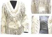A SPECIAL PRICING LADIES ALL off WHITE LAMBSKIN JACKET WITH FRINGE AND BEADWORK.