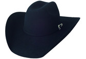 5X BLACK WOOL FELT Cowboy Hat WITH SILVER BUCKLE, INCRUSTATED STONE & SHEEPSKIN SWEAT BAND