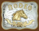 RODEO Horsehead German Silver Belt Buckle