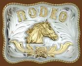 RODEO Horsehead German Silver Belt Buckle