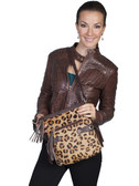 HAIR ON CALF AND LEATHER HANDBAG.  TOP ZIP CLOSURE WITH TASSEL ZIPPER PULL.  EXTERIOR FRONT ZIP POCKET WITH TASSEL ZIPPER PULL.  INTERIOR ZIP AND TWO OPEN POCKETS.  EXTERIOR DECORATIVE STRAPS WITH TIE CLOSURES ON BOTH SIDES.  STUDDED PATCHES AT TOP O