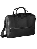 LAPTOP BRIEF.  TOP CENTER MAGNETIC SNAP TAB OVER A 3-WAY ZIP CLOSURE.  EXTERIOR FRONT HAS FULL ZIP POCKET.  INTERIOR FULL ZIP MESH POCKET.  INTERIOR LAPTOP COMPARTMENT WITH ACCESSORY ZIP BAG AND SIX OPEN DISC POCKETS.  DOUBLE HANDLES - 4 INCH DROP LE
