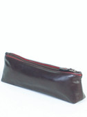 COSMETIC CASE.  CONTRAST PIPING.  COTTON LINING.  ZIP CLOSURE.  IMPORT.