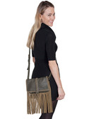 Leather and Suede Trim Brown Handbag