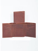 LEATHER TRI-FOLD WALLET.  BILL DIVIDER.  CREDIT CARD POCKETS.  VERTICAL POCKETS.  IMPORT.