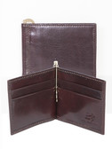 LEATHER CREDIT CARD BILL CLIP.  BRASS PUMP HANDLE CLIP.  CREDIT CARD POCKETS.  IMPORT.