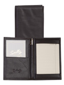 LEATHER FOLDED JOTTER.  HOLDS 10 TO-DO SHEETS.  INSIDE OPEN POCKET.  PEN HOLDER.  SCULLY PEN.  IMPORT.