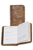 LEATHER PERSONAL WEEKLY PLANNER.  2.75 INCH X 4.25 INCH WEEKLY PLANNER.  IMPORT.