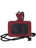 LEATHER ID HOLDER.  ID WINDOW AND ADJUSTABLE NECK STRAP.  IMPORT.