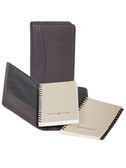 LEATHER POCKET PLANNER.  INSIDE POCKET.  3.75 INCH X 6.75 INCH WEEKLY PLANNER.  3.75 INCH X 6.75 INCH TEL/ADDRESS BOOK.  IMPORT.