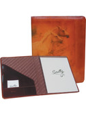 LEATHER LETTER SIZE PAD.  INSIDE POCKETS.  8.5 INCH X 11 INCH WRITING PAD.  SCULLY PEN.  IMPORT.