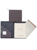 LEATHER ZIP PLANNER AND LETTER PAD.  INSIDE POCKETS WITH PEN LOOP.  8.5 INCH X 11 INCH WEEKLY PLANNER.  8.5 INCH X 11 INCH WRITING PAD.  SCULLY PEN.  IMPORT.