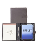 DESIGNED TO FIT ANY TABLET WITH FLEXIBLE ELASTIC TABS.  INCLUDES WRITING PAD AND SCULLY PEN.  MAGNETIC SNAP CLOSURE.