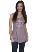 E100-MEDIUMOC-LARGE SIZE  100% COTTON EMBROIDERED FRONT TANK.  IMPORT.