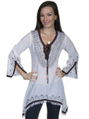 E102-WHT-LARGE SIZE  LONG SLEEVE 100% COTTON BLOUSE.  LACE UP FRONT WITH EMBROIDERED AND LACE ACCENT..  EMBROIDERED & LACE SPLIT SLEEVES.  SHARKBITE BOTTOM WITH FRINGE..
