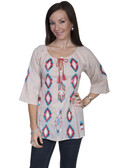 E104-WHE-SMALL SIZE  3/4 SLEEVE 100% COTTON TUNIC..  EMBROIDERED FRONT AND SLEEVE ACCENT..  TIE FRONT TASSLE..