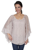 E119-KHA-SMALL SIZE  WIDE ARMED LACE BLOUSE.  SCOOP NECKLINE.