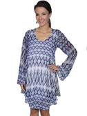 E120-BLU-SMALL SIZE  FLOWING PATTERNED LONG SLEEVE DRESS.  SCOOP NECKLINE.