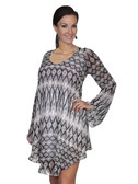 E120-MEDIUMOC-SMALL SIZE  FLOWING PATTERNED LONG SLEEVE DRESS.  SCOOP NECKLINE