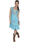 E121-TUR-LARGE SIZE  EMBROIDERED SLEEVELESS V-NECK DRESS