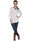 E122-NAT-SMALL SIZE  COTTON TUNIC WITH LACE INSET ON FRONT YOKE AND SLEEVES.