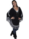 E124-BLK-MEDIUM SIZE  COMFORTABLE PULL OVER PANCHO WITH FRINGE.