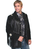 BLACK BOAR SUEDE Hand Laced Bead Fringed Jacket Trimmed Coat - Prairie Leather Suede JACKET MENS JACKETS Native American Style Designed