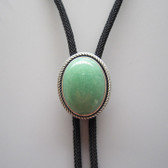 Natural Green Aventurine Jade Oval Bolo Tie, Vintage Silver Plated