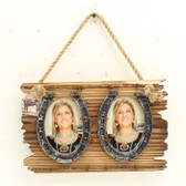 3 x 5 Double Picture Horseshoe Brown Wall Hanging Picture Frame