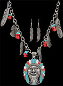 Silver Strike Native American Round Earring & Necklace Set--Hypoallergenic