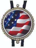 USA Flag Badge Style Bolo Tie