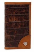Ariat Western Mens Wallet Rodeo Croco Shield Concho Brown