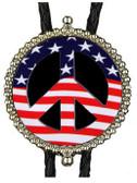 American Flag Peace Symbol Bolo Tie