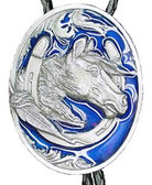 Horsehead and Horseshoe Bolo Tie Blue Enamel Made in the USA