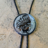 """2"""" HAND PAINTED GLASS B\W INDIAN CHIEF BOLO TIE"""