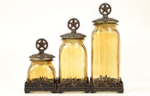 3 WESTERN CANISTERS KITCHEN SILVERADO GLASS STAR