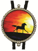 Abstract Art with Black Horse Running Image Bolo Tie