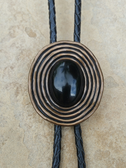 Vintage Black Onyx Stone Bolo Tie
