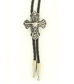 Western Men's Cross And Steer Skull Bolo Tie