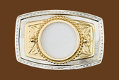 "Silver/Gold Coin Belt Buckle, 3-3/8"" x 2-1/4"""