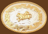 Small Bullrider German Silver Belt Buckle,