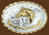 Small Horsehead German Silver Belt Buckle