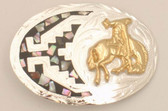 Small Bucking Bronco German Silver & Abalone Belt Buckle