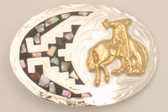 "Small Bucking Bronco German Silver & Abalone Buckle, 3"" x 2"""