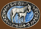 Small Mare & Colt Belt Buckle, Blue Enamel